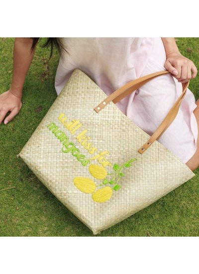 "Tote strand tas ""Will Kiss for Mangoes"" - UITVERKOCHT"