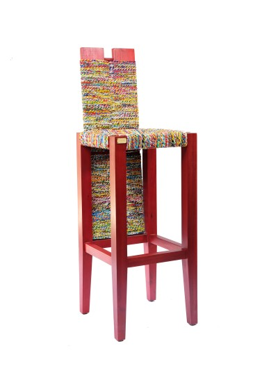 Hi-Back Bar Stool Red